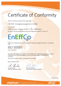 Certificate of Conformity ISO 50001