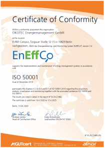EnEffCo Certificate of Conformity ISO 50001 - April 2020