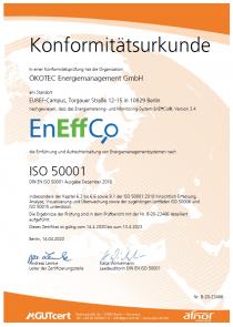 EnEffCo Konformitätsurkunde ISO 50001 - April 2020